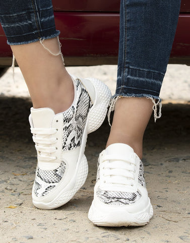 Tropical White Snake Print Sneakers