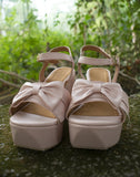 Baby Pink Pretty Bow Wedge Heels