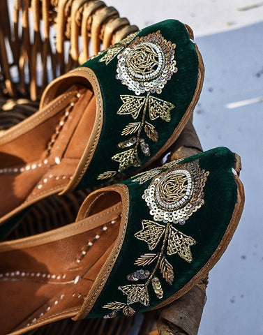 Velvet Green Leather Juttis