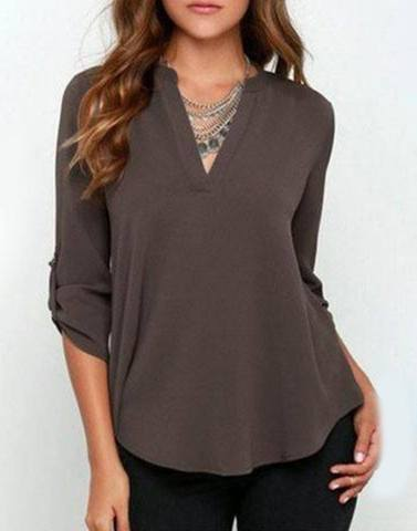 V-Neck Posh Grey Roll-On Shirt