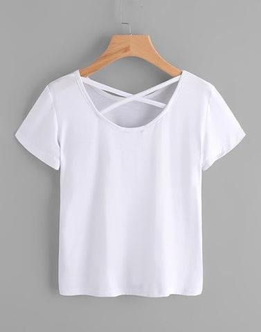 White Solid Simple T-Shirt
