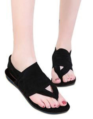 Black Velvety Touch Covered Flats