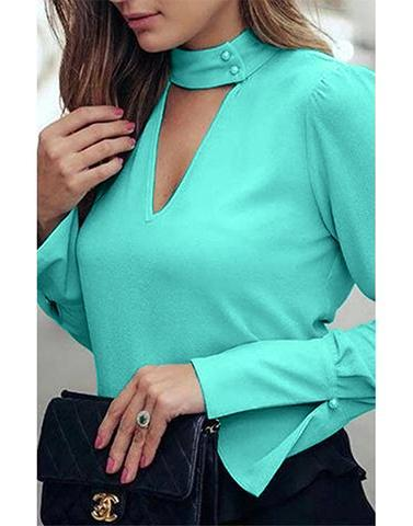 Aero Blue Top Choker Neck Bell Sleves Top