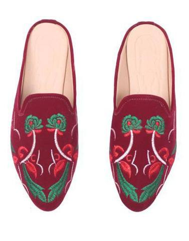Maroon Floral Embroidery Mule Flats