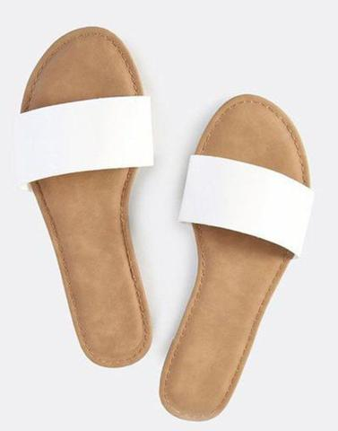White Band Slip On Flats