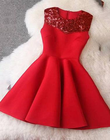 Sequin Yoke Red Classy Dress
