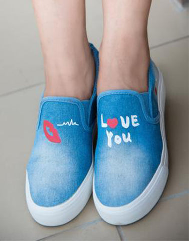 Red Lips On Blue Sneakers