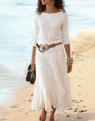 Long White Frilled Dress