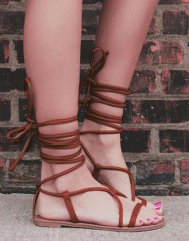 Graceful Brown Lace Up Flats
