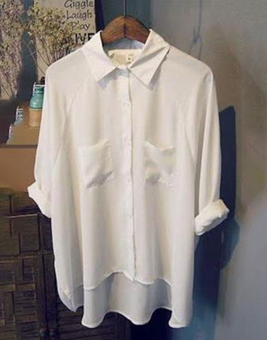 White 3/4th Sleeve Roll-On Shirt