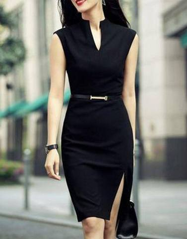 Sophisticated Black Slit Bodycon Dress