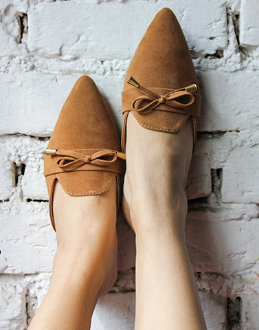 Bow Tied Brown Flats