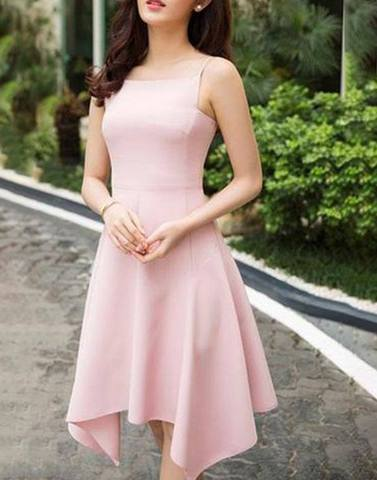 Pastl Pink Fish Cut Skater Dress