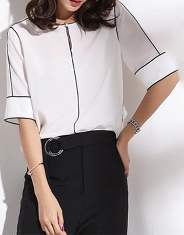 Black And White Workwear Top