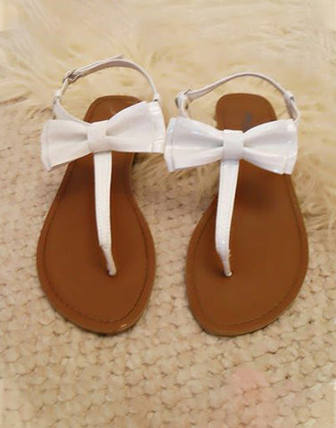 White Kitty Bow Flats