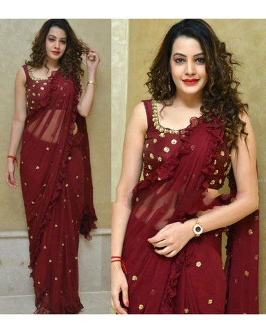Trishulom Maroon Colored Georgette Embroidered Saree