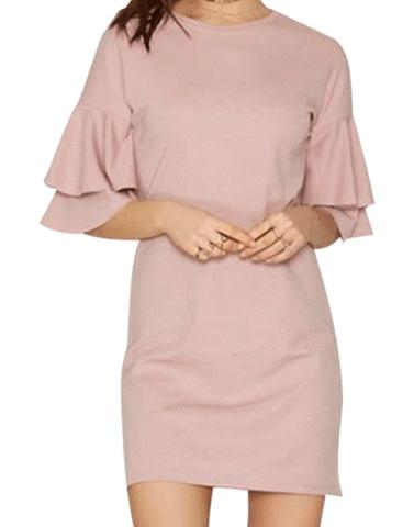 Dusty Pink Ruffled Unique Dress