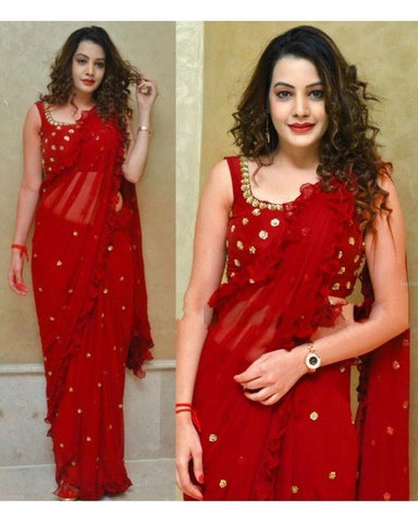 Trishulom Red Soft Silk Printed Designer Saree