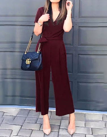 Merry Maroon V-Neck Jumpsuit