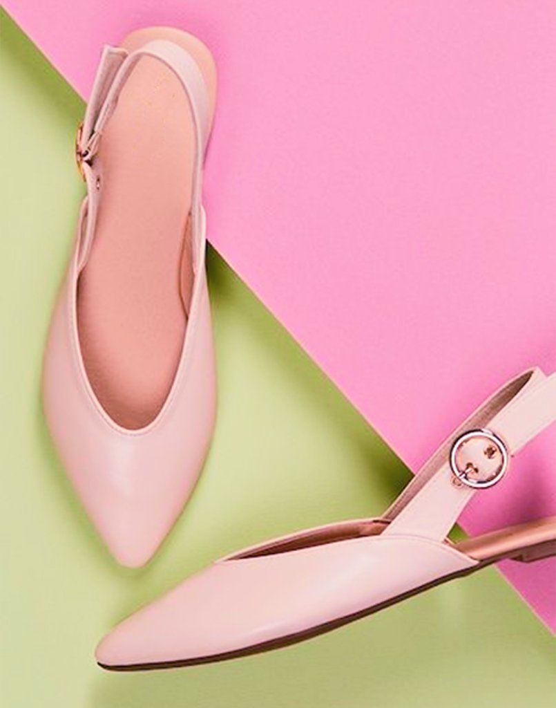 Pink Polished Buckle Flats