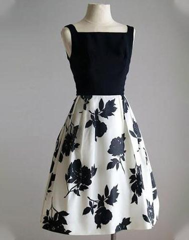 Black & White Skater Floral Dress