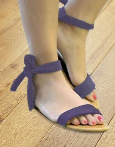 Purple Ankle Ribbon Flat