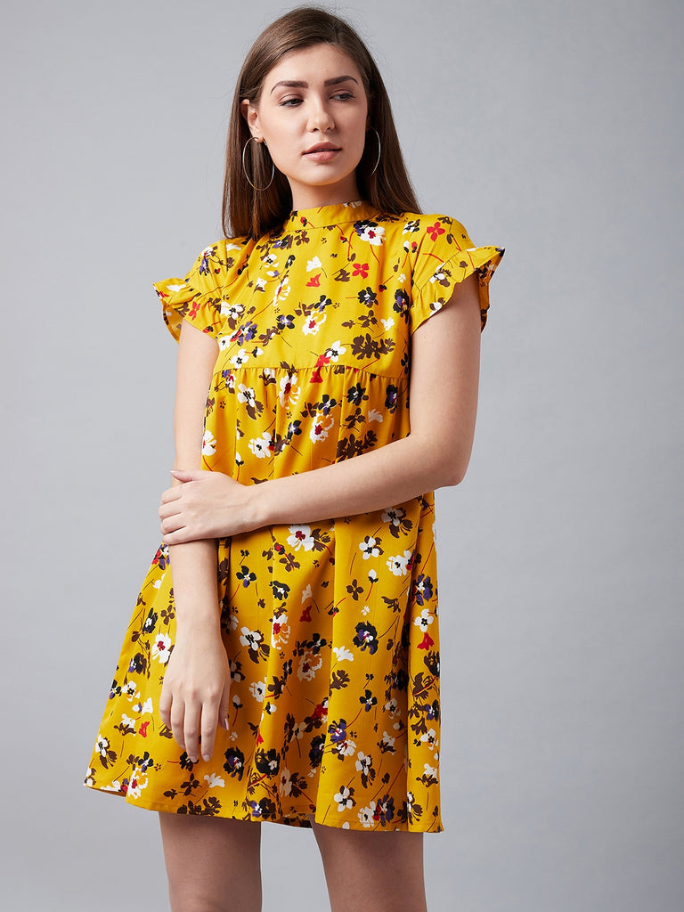 Floral Fun Yellow Printed Dress