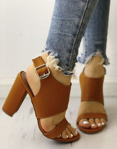 Tan Formal Block Heels