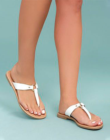 White Comfy Slide In  Flats