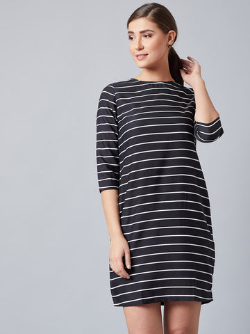 Classic Black Striped Shift Dress