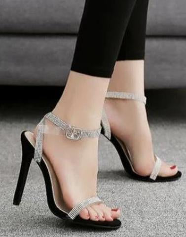 Crystal Shine Black Heels
