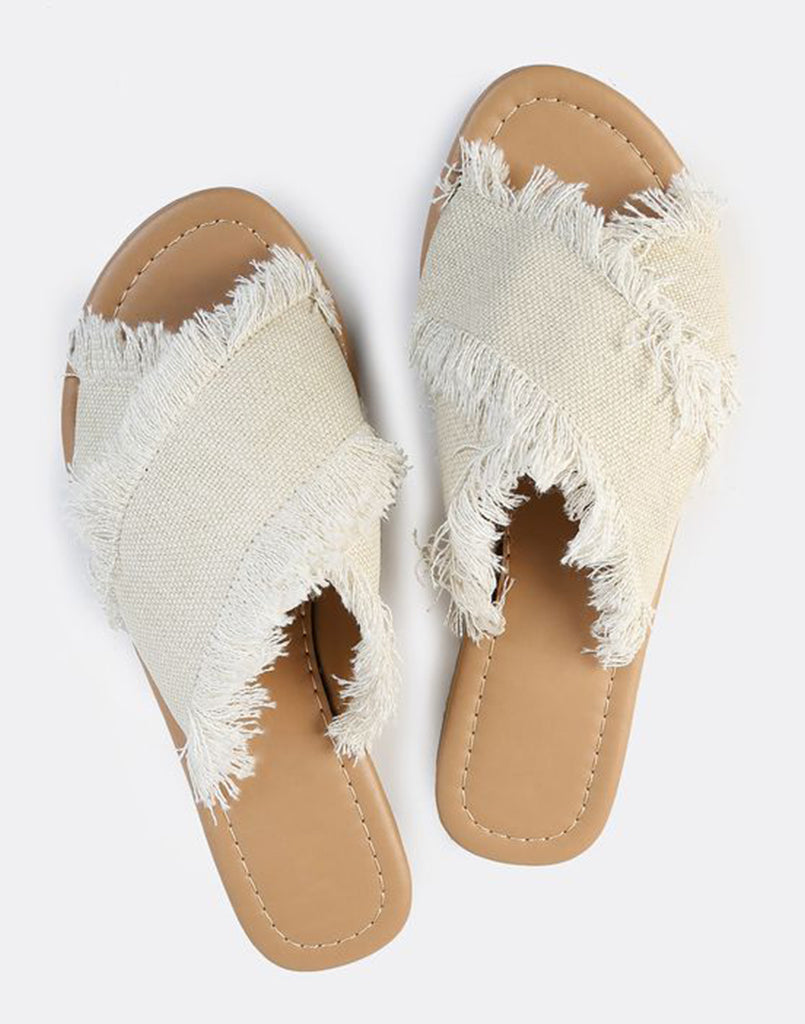 White Ripped Edged Slip-Ons