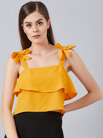 Shoulder Tie Crop Top