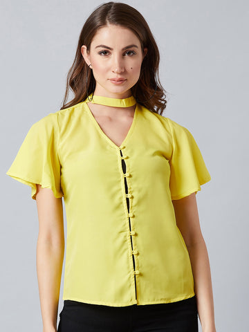 Summery Choker Neck Yellow top