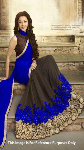 Trishulom Blue And Coffee Colored Georgette Embroidered Saree