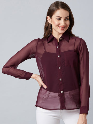 Modish Wine Butonned Shirt