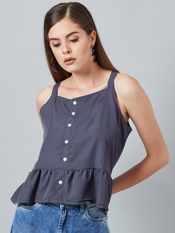 Being Blue Peplum Top
