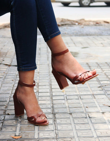 Choco Brown Block Heels