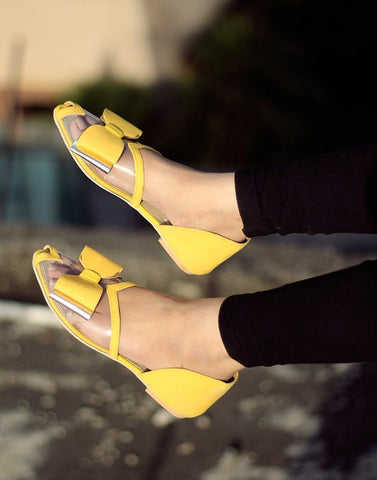 Cute Bow Yellow Flat