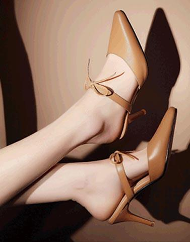 Formal Brown Tie Up Heels