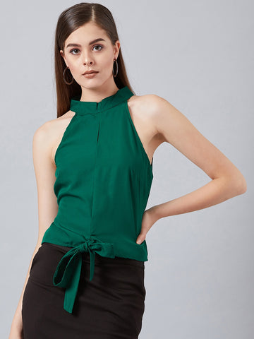 Modish Green Halter Neck Top