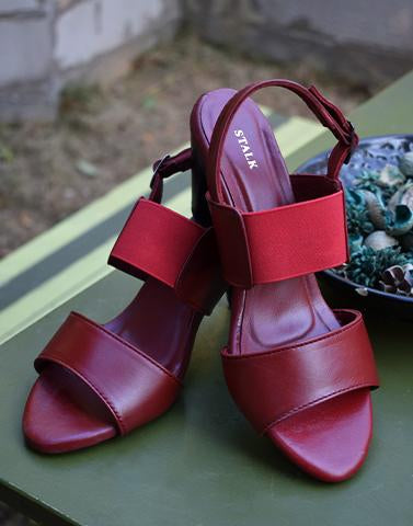 Basic Maroon Block Heels
