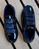 Glossy Black Comfy Sneakers