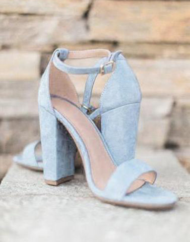 Snowy Blue Block Heels