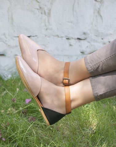 Pink  Brown Work Flats