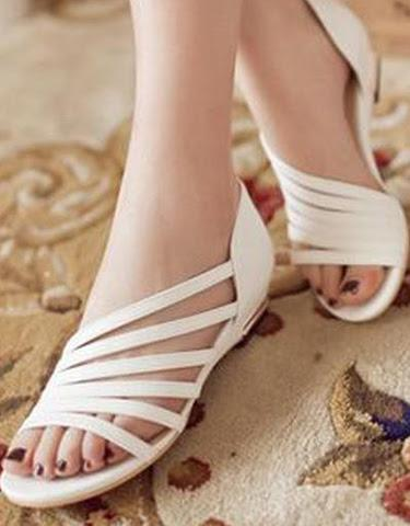 Cute White Strappy Flats