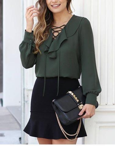 Graceful Green Criss Cross Neck Top