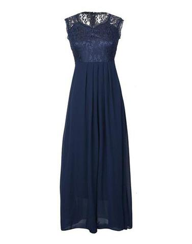 Navy Blue Lace Sexy Long Dress
