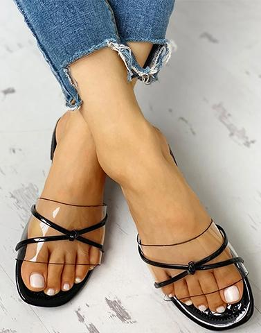 Transy Black Criss Cross Flats