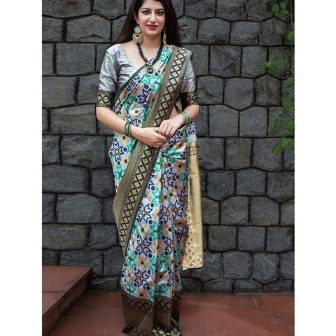 Trishulom Multicolored Soft Silk Printed Alluring Saree